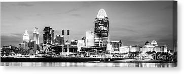 Ballpark Canvas Print - Cincinnati Skyline Black And White Panorama Photo by Paul Velgos