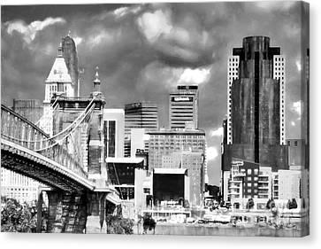 Cincinnati Skyline In Black And White Canvas Print