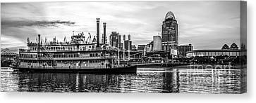 Ballpark Canvas Print - Cincinnati Skyline Panorama In Black And White by Paul Velgos