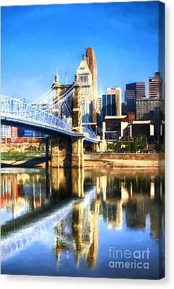 Cincinnati Skyline River Reflections Canvas Print