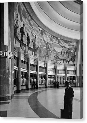 Cincinnati Union Terminal, Mural Canvas Print by Everett
