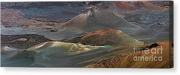 Cinder Cones Panorama In The Haleakala Crater Canvas Print by Frank Wicker