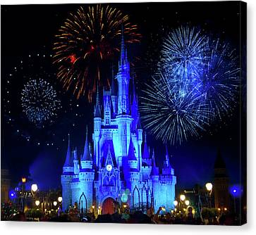 Cinderella Castle Fireworks Canvas Print by Mark Andrew Thomas