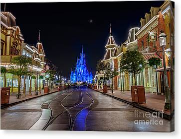 Cinderella Castle Glow Over Main Street Usa Canvas Print