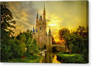 Cinderella Castle  - Monet Style -  - Da Canvas Print by Leonardo Digenio