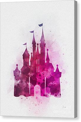 Fairy Canvas Print - Cinderella Castle Pink by Rebecca Jenkins
