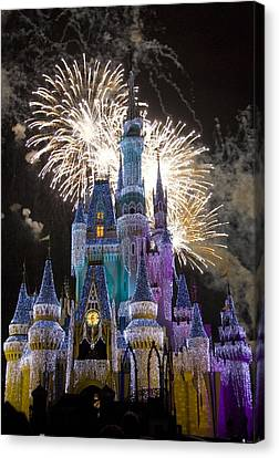 Fireworks Canvas Print - Cinderella Castle Spectacular by Charles  Ridgway