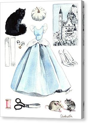 Cinderella Disney Princess Collage Castle Glass Slippers Mouse Pumpkin Cat Canvas Print by Laura Row