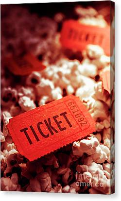 Cinema Ticket On Snackbar Food Canvas Print