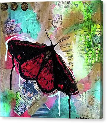 Canvas Print featuring the mixed media Cinnabar Butterly by Lisa McKinney