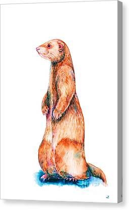 Canvas Print featuring the painting Cinnamon Ferret by Zaira Dzhaubaeva