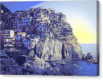 Cinque Terre Italy Blue Meditteranean Canvas Print by Daniel Hagerman