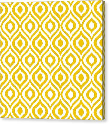 Pattern Canvas Print - Circle And Oval Ikat In White N05-p0100 by Custom Home Fashions
