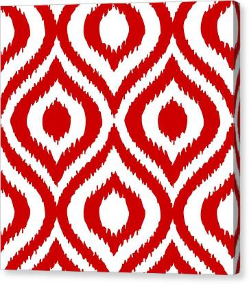 Pattern Canvas Print - Circle And Oval Ikat In White T02-p0100 by Custom Home Fashions
