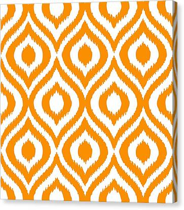 Pattern Canvas Print - Circle And Oval Ikat In White T03-p0100 by Custom Home Fashions
