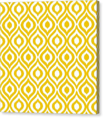 Pattern Canvas Print - Circle And Oval Ikat In White T05-p0100 by Custom Home Fashions