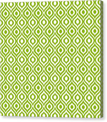 Pattern Canvas Print - Circle And Oval Ikat In White T09-p0100 by Custom Home Fashions
