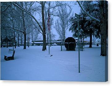 Snow Flag Canvas Print - Circle Park - Kernville California by Soli Deo Gloria Wilderness And Wildlife Photography