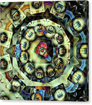 Canvas Print featuring the digital art Circled Squares by Ron Bissett