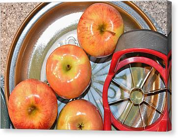 Circles 1 - Apples Canvas Print by Linda Brody
