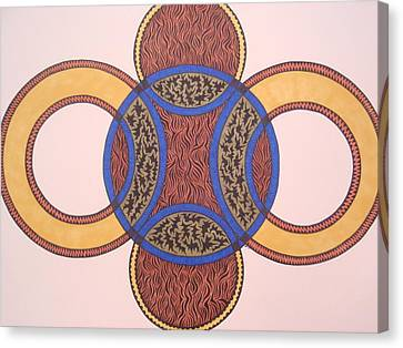 Canvas Print featuring the drawing Circles In Ink by Beth Akerman