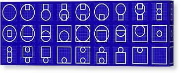Circuare -alphabet- Grid Blueprint Canvas Print