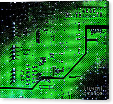 Circuit Board Background Canvas Print by Olivier Le Queinec