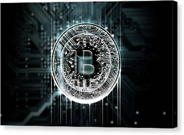 Circuit Board Projecting Bitcoin Canvas Print by Allan Swart