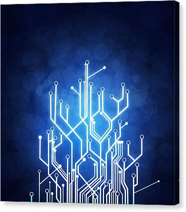 Idea Canvas Print - Circuit Board Technology by Setsiri Silapasuwanchai
