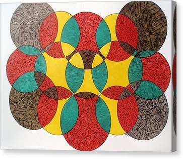 Canvas Print featuring the drawing Circular Ink Drawing by Beth Akerman