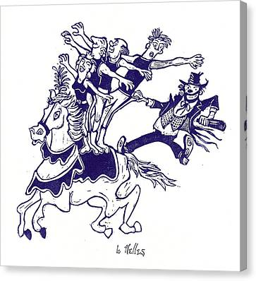 Circus Acrobats On Horse With Clown Canvas Print by Barry Nelles Art