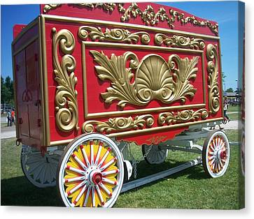 Circus Car In Red And Gold Canvas Print by Anita Burgermeister
