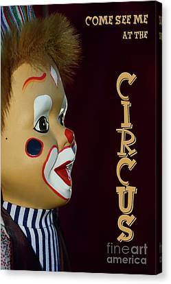 Canvas Print featuring the photograph Circus Clown By Kaye Menner by Kaye Menner