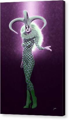 Circus Of Horrors - Green Jester Woman Canvas Print by Joaquin Abella