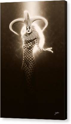 Circus Of Horrors - Light Jester Woman Canvas Print by Joaquin Abella