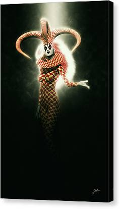 Circus Of Horrors - Mysterious Jester Woman Canvas Print by Joaquin Abella