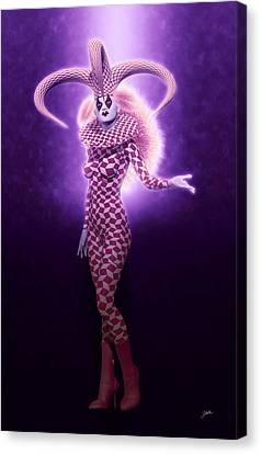 Circus Of Horrors - Purple Jester Woman Canvas Print by Joaquin Abella