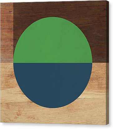 Cirkel Blue And Green- Art By Linda Woods Canvas Print