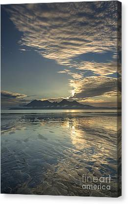 Cirrocumulus Sunset Over Rhum From Eigg Canvas Print by John Potter