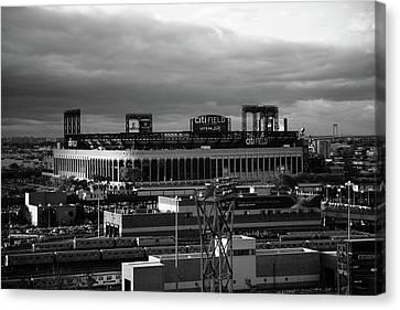 Citi Field - New York Mets Bw Canvas Print by Frank Romeo