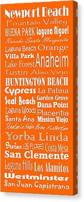 Cities Of Orange County Canvas Print