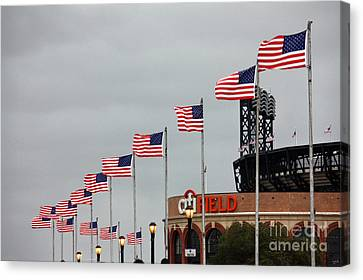 Citifield And American Flags Canvas Print by Nishanth Gopinathan