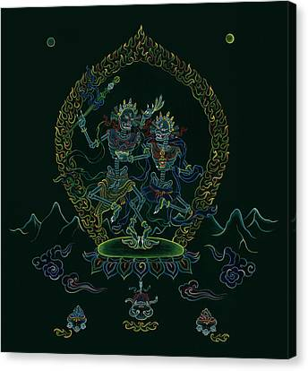 Citipati -the Lord And Lady Of The Charnel Grounds Canvas Print by Carmen Mensink