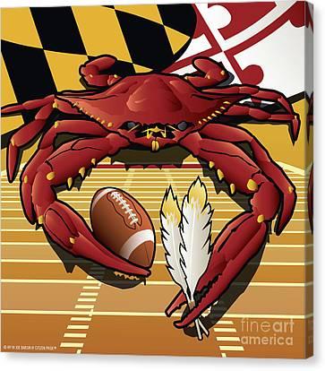 Citizen Crab Redskin, Maryland Crab Celebrating Washington Redskins Football Canvas Print