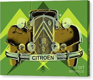 Canvas Print featuring the digital art Citroen Traction Avant  by Jean luc Comperat