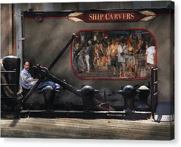 City - Ny South Street Seaport - Ship Carvers Canvas Print by Mike Savad