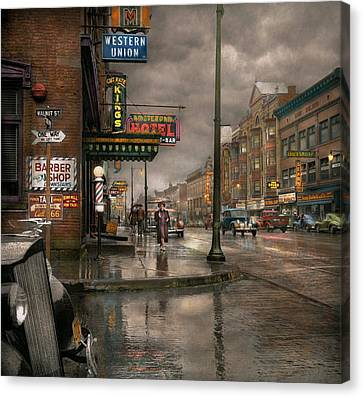 Rainy Day Canvas Print - City - Amsterdam Ny -  Call 666 For Taxi 1941 by Mike Savad