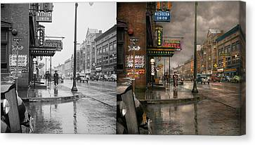 City - Amsterdam Ny -  Call 666 For Taxi 1941 - Side By Side Canvas Print by Mike Savad