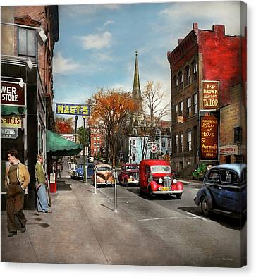 Canvas Print featuring the photograph City - Amsterdam Ny - Downtown Amsterdam 1941 by Mike Savad