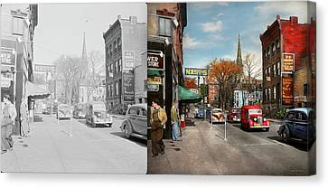 Canvas Print featuring the photograph City - Amsterdam Ny - Downtown Amsterdam 1941- Side By Side by Mike Savad